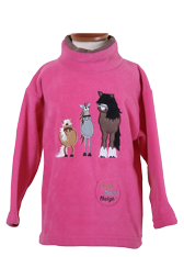Children's Pink Fleece Pull on Tunic in Dozy Mares design with Horse Whinnying Sound effects