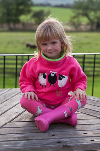 Children's Pink Fleece Pull on Tunic in Sheep Trio design with Sheep Sound effects