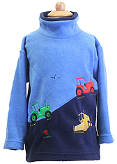 Children's Hillside Tractors Embroidered Fleece Tunic with Sound Effects