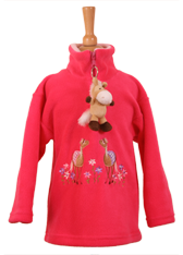 Pony Duo Pink Half Zip Fleece with Dangly Soft Toy Horse Keyring