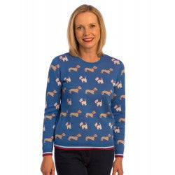 Tulchan Ladies Blue and White Dog Print Cotton Jumper