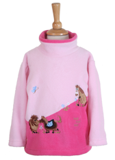 Children's Pink Fleece Pull on Tunic in Kissing ponies design with Horse Whinnying Sound effects