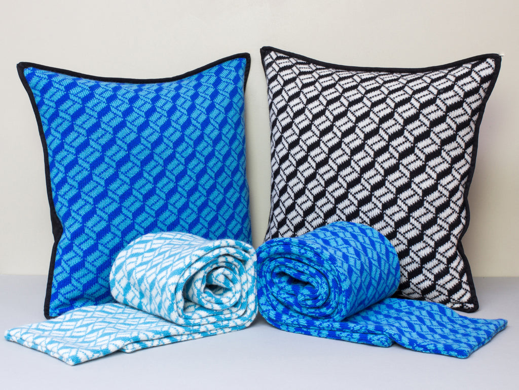 The Pattern Guild Collection 2013 knitted cushions and scarves cubes pattern