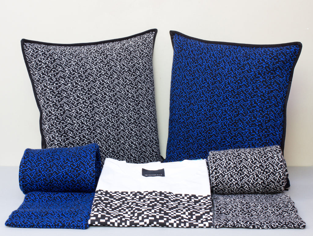 The Pattern Guild Collection 2013 knitted cushions and scarves in glitch pattern