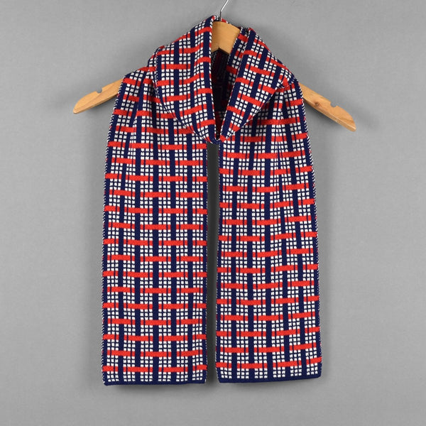 Woven Pattern Scarf Red/Navy