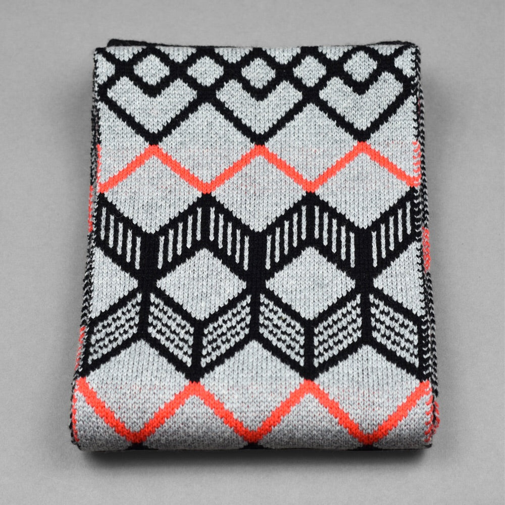 Finland Pattern Scarf Grey/Neon Orange