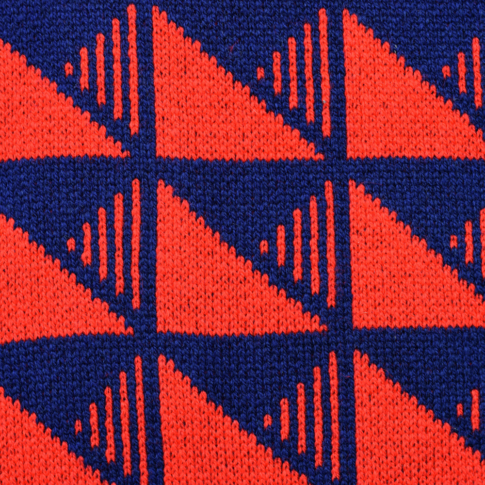 Pockets Pattern Lambswool Scarf Red/Navy