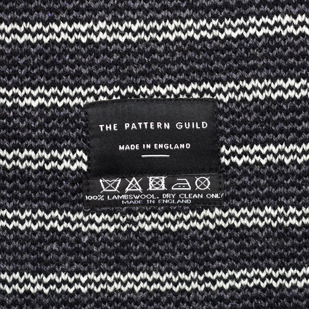 Woven Pattern Lambswool Scarf Black/White