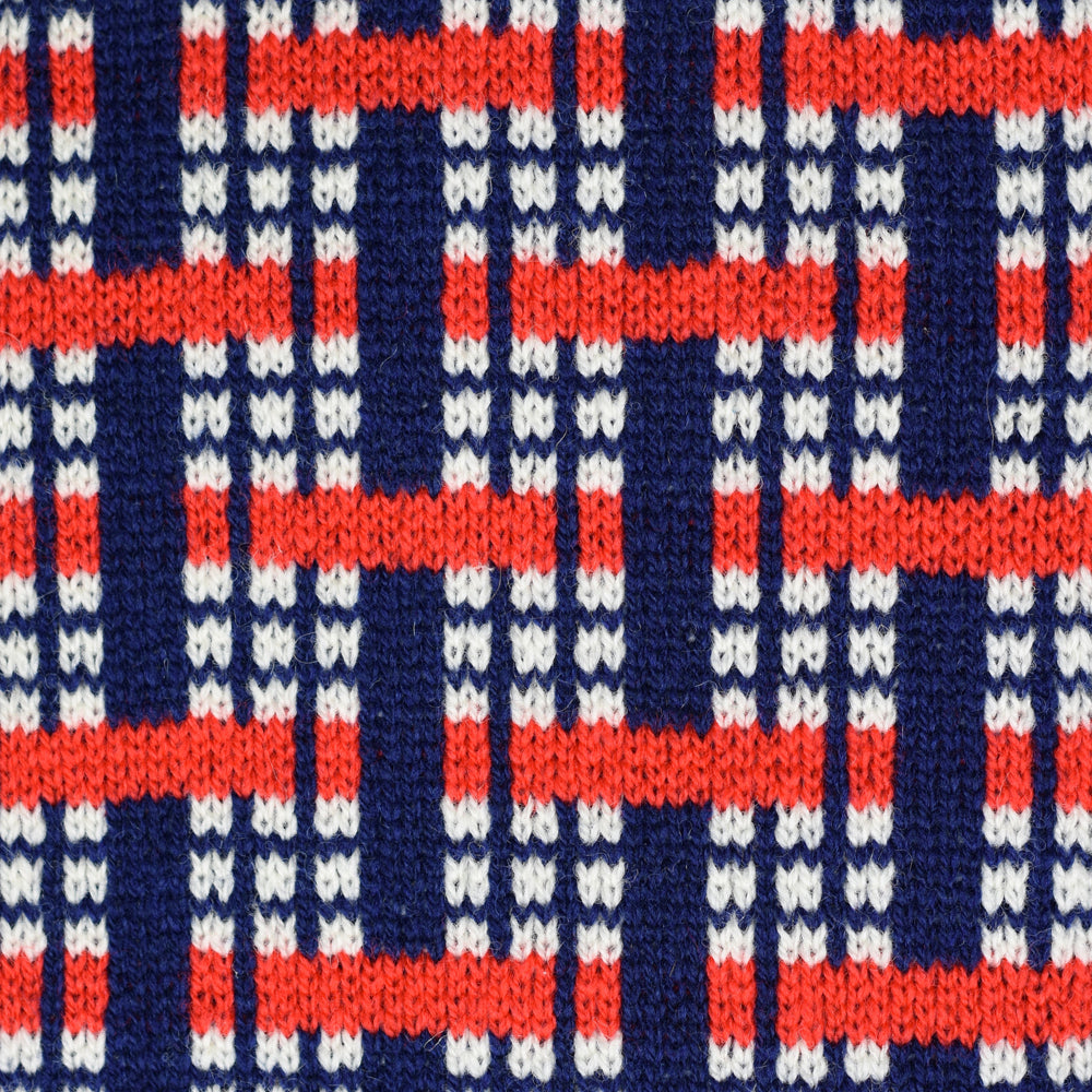 Woven Pattern Lambswool Scarf Red/Navy