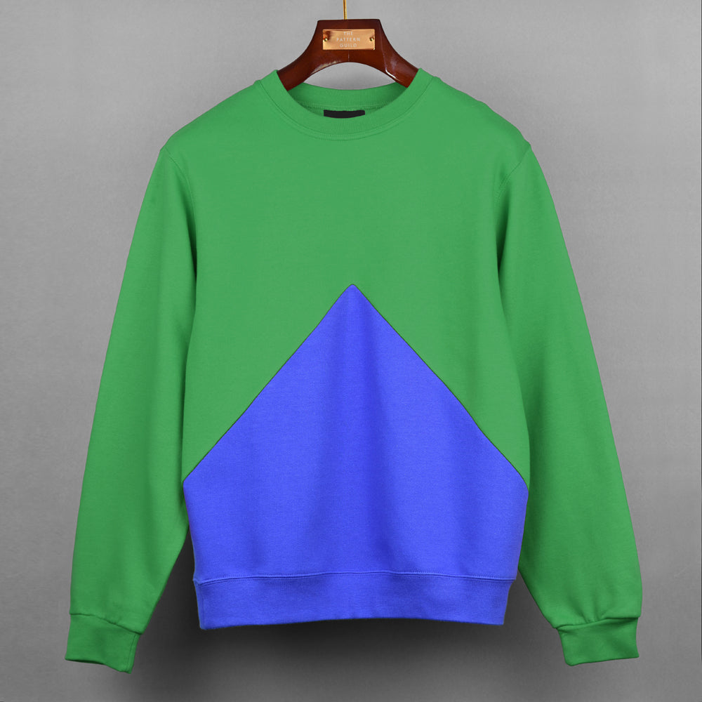Green With Blue Triangle Panel Sweatshirt