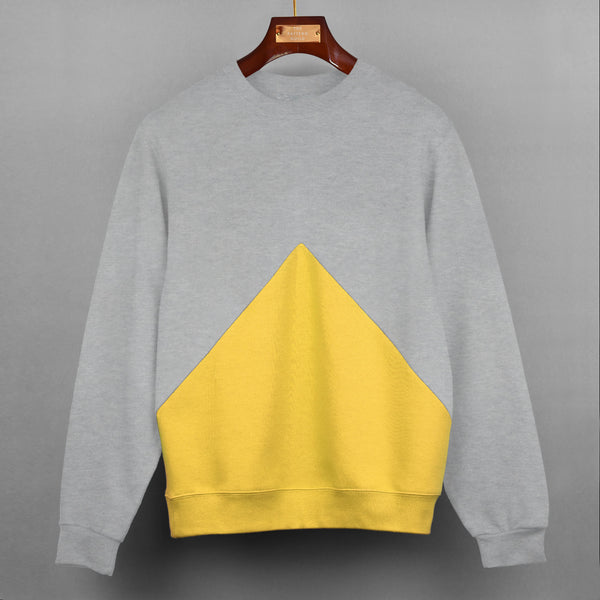 Grey With Yellow Triangle Panel Sweatshirt