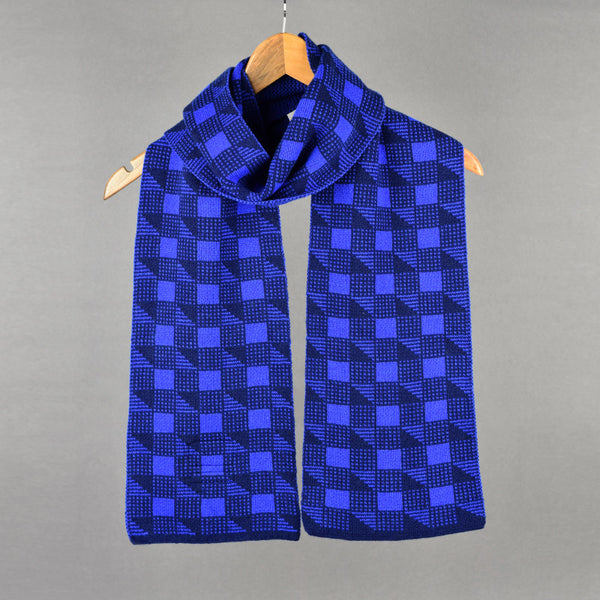 Cubes Pattern Lambswool Scarf Blue and Navy