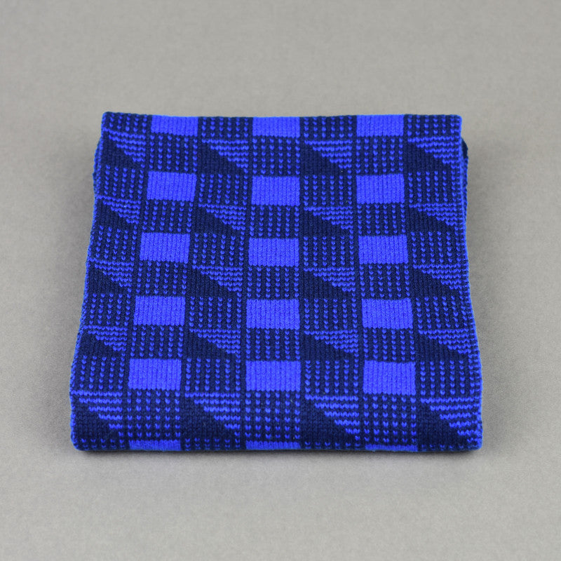 Cubes Pattern Scarf Blue and Navy