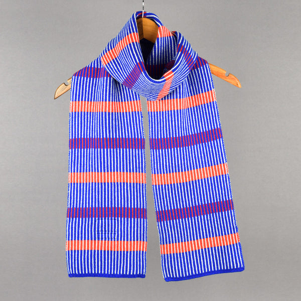 Stripes Pattern Lambswool Scarf Red and Blue