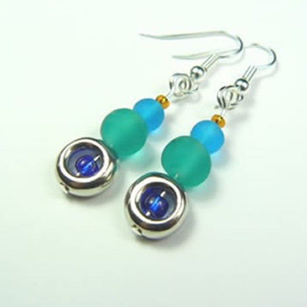 Aqua Bead Drop Earrings