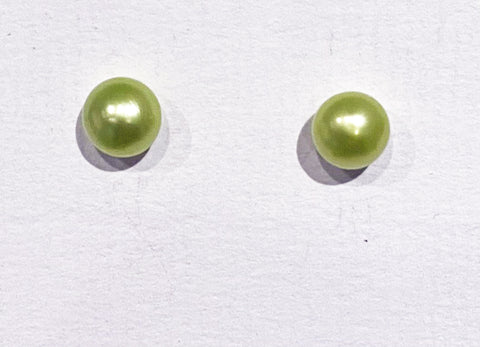 7mm Pearl Earrings (Lime Green)