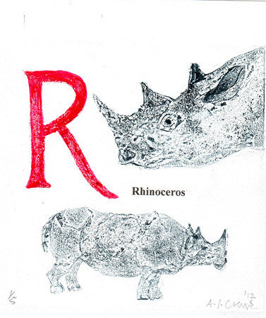 R is for Rhinocerous (pink)