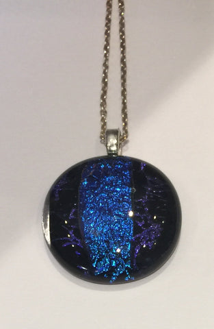 Cobalt Blue Stripe with Purple on Black Pendant (small)