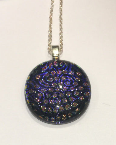Polka Dot Pink on Black Pendant (small)