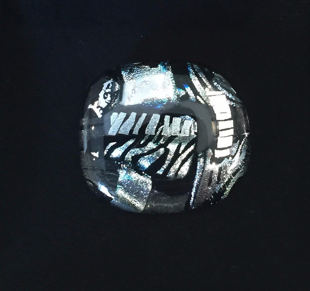 Black and Silver Glass Brooch