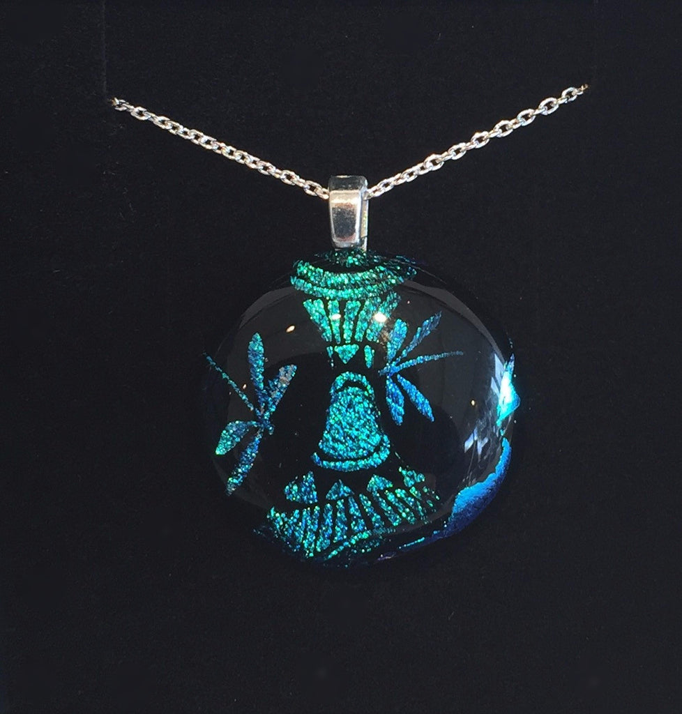 Blue Dragonflies on Black Pendant (small)