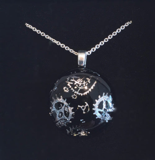 Silver Cogs on Black Pendant (Small)