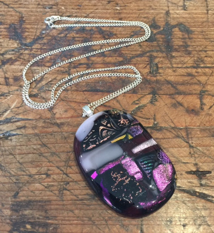 Pink and Purple Glass Pendant (large)