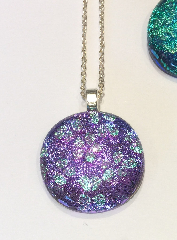 Vibrant Lilac Pendant with Aqua Flowers (small)