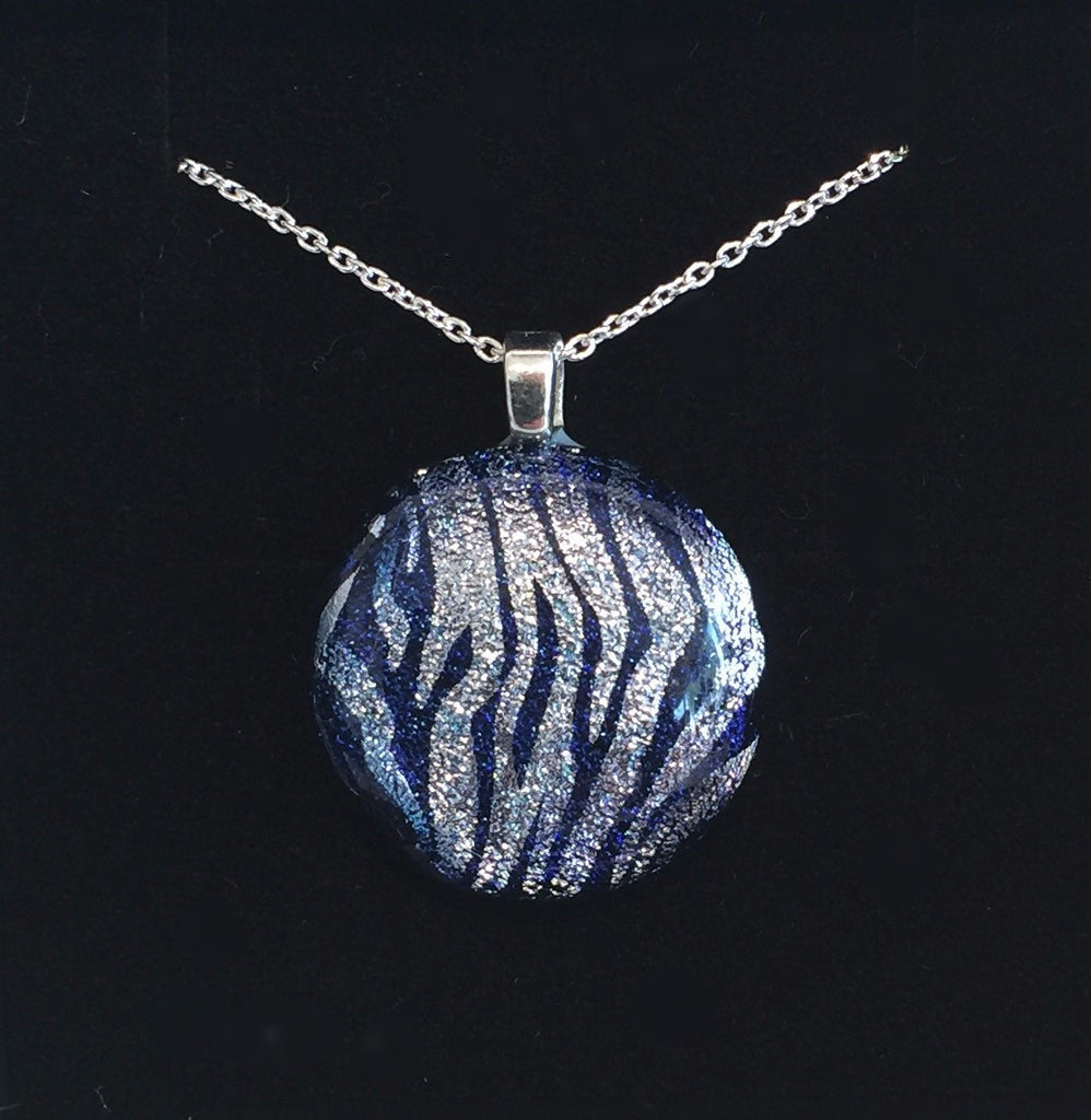 Silver Stripes on Blue Pendant (small)