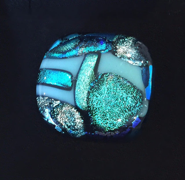 Turquoise Glass Brooch