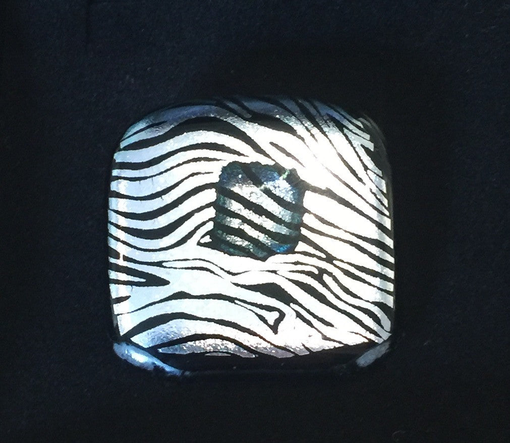 Zebra Striped Glass Brooch