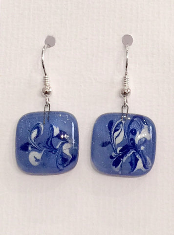 Painted Earrings (Light Blue & White)