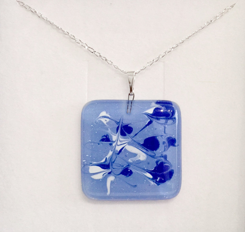 Painted Pendant (Light Blue & White)