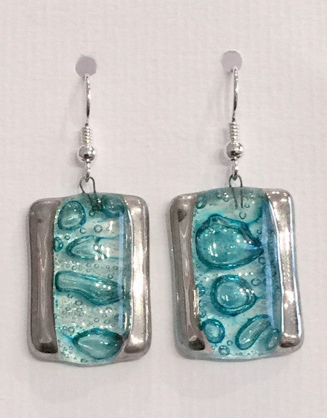 Bubble Rectangle Earrings (Turquoise)