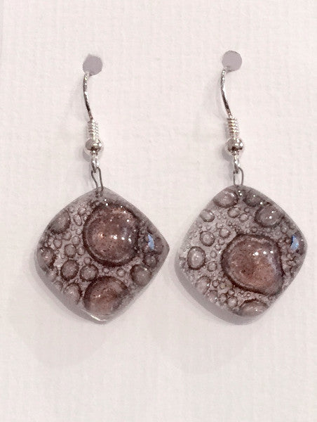 Bubble Round Earrings (Brown)