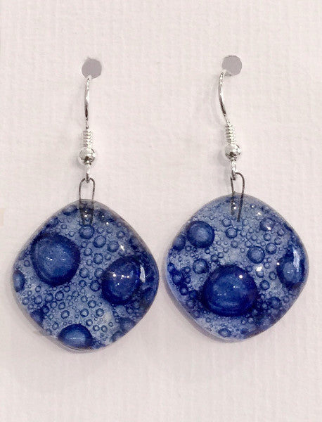 Bubble Round Earrings (Dark Blue)
