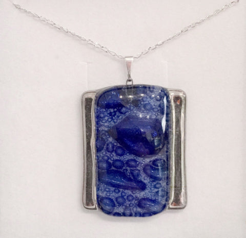 Bubble Rectangle Pendant (Dark Blue)