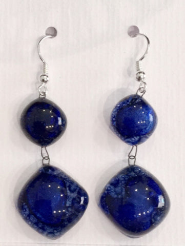 Bubble Double Drop Earrings (Dark Blue)