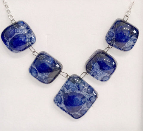 Bubble Necklace (5 part) Dark Blue
