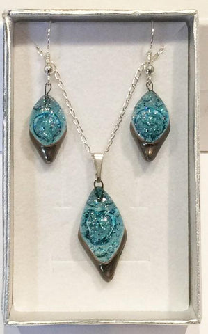 Turquoise Frosted Diamond Pendant & Earrings Set