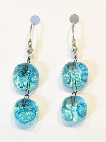 Bubble Double Drop Round Earrings 2 (Turquoise)