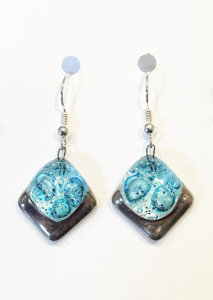 Bubble Square Crackle Earrings 1 (Turquoise)