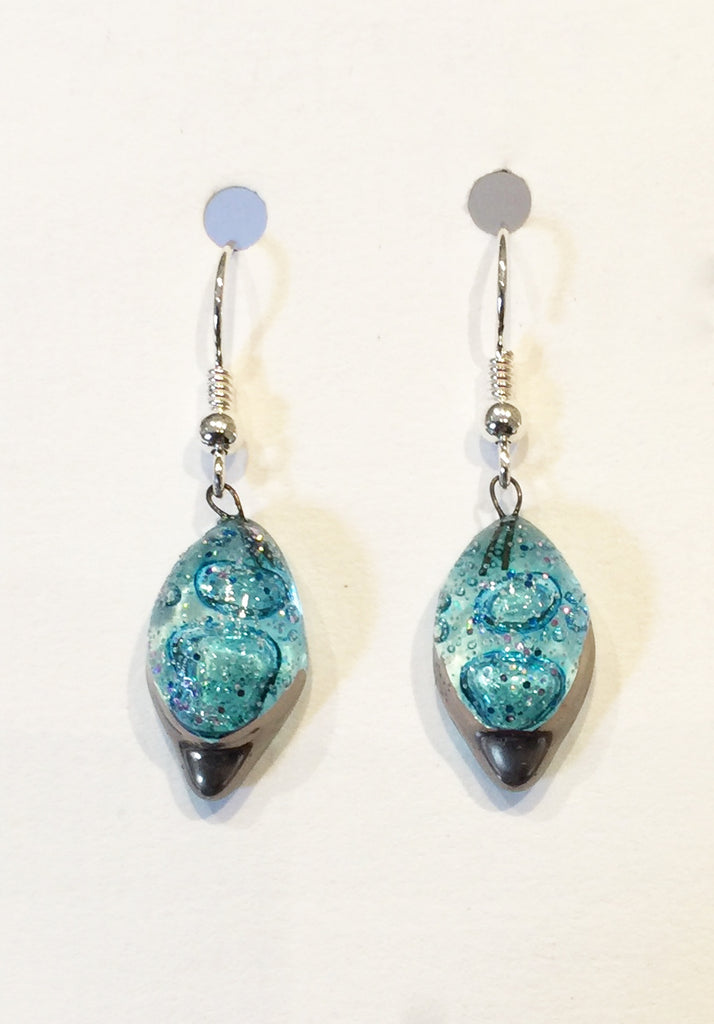 Bubble Diamond Crackle Earrings 1 (Turquoise)