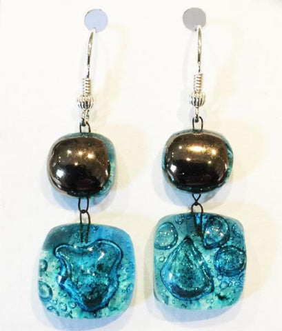 Bubble Double Drop Platinum Earrings 1 (Turquoise)