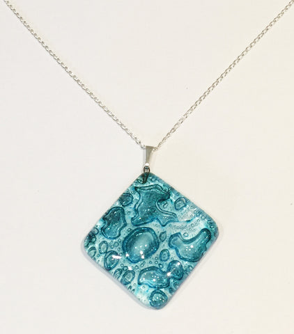 Turquoise Bubble Offset Square Pendant