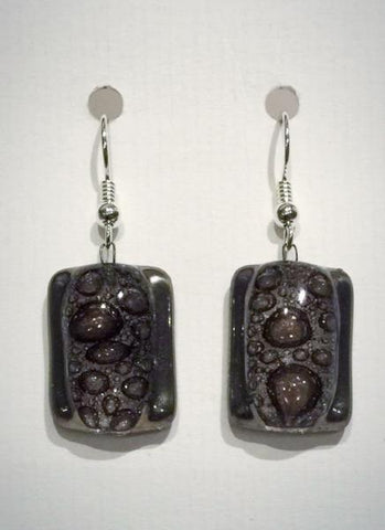 Bubble Rectangle Earrings 1 (Brown)