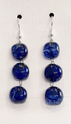 Bubble Treble Drop Earrings (Dark Blue)