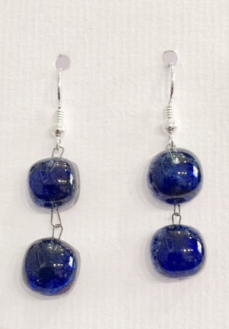 Bubble Double Drop Earrings 2 (Dark Blue)