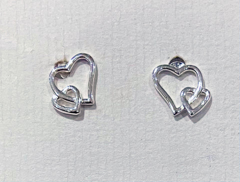 Double Heart Open Studs