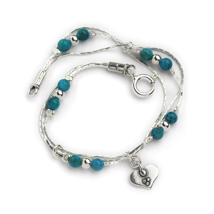 Silver Bracelet with Turquoise Beads